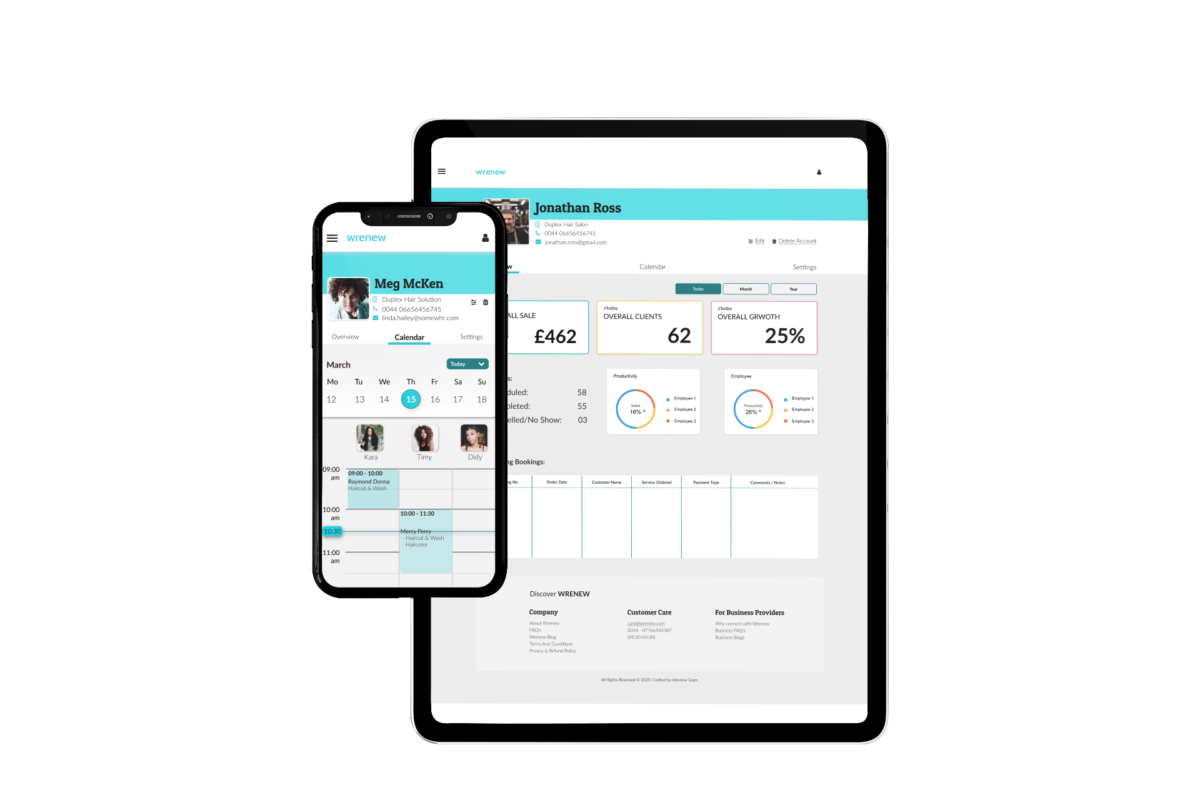 Wrenew apps shown on mobile devices